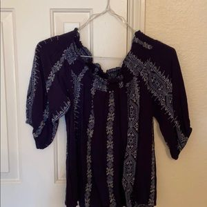 CLEARANCE: Blue embroidered stitching blouse